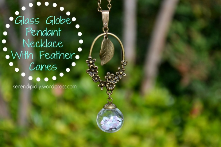 Glass Globe Pendant Necklace with Feather Polymer Clay Canes 🔮 🏵