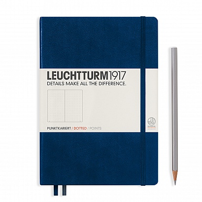 notebook-medium-a5-hardcover-249-numbered-pages-dotted-navy