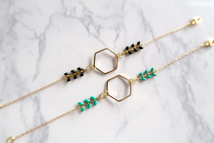 Gold Plated Hexagon Chevron Bracelets